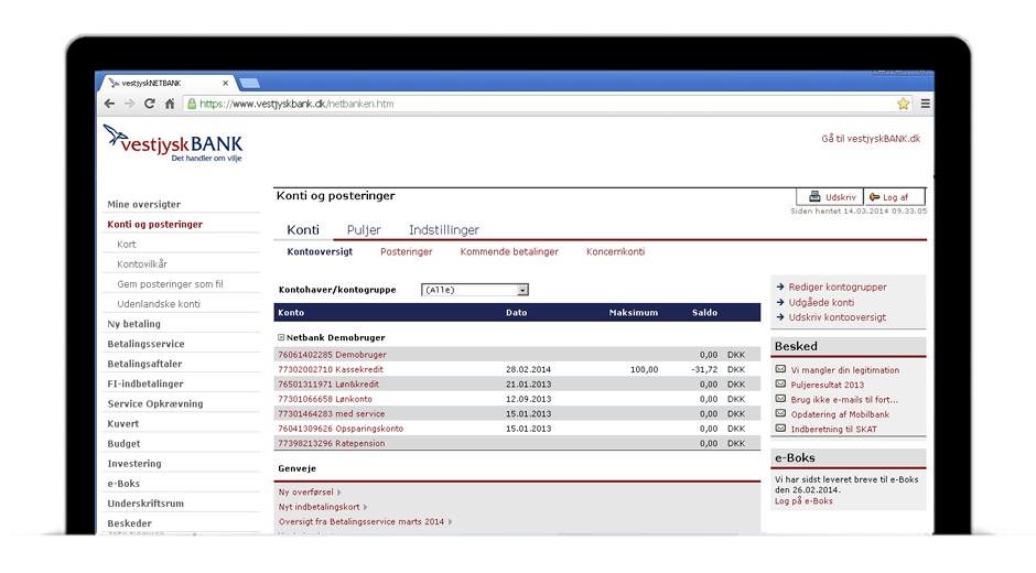 Netbank - Spar tid og gebyrer med Vestjysk Banks netbank